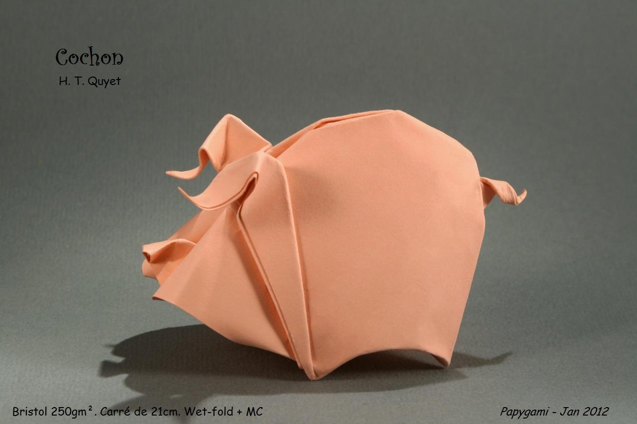 origami facile cochon